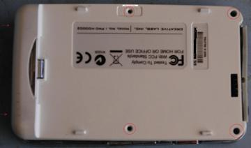 Battery Removed Showing Screw Holes